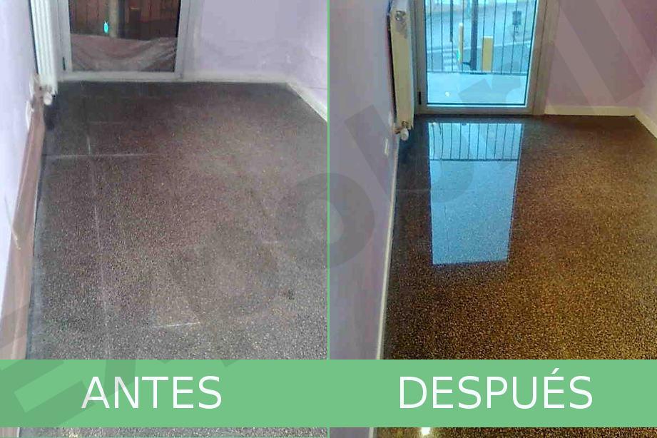 Antes y después de pulir suelo de terrazo